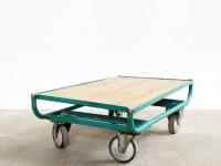 Loft design Ipari kiskocsi dohányzó asztal Industrial trolley coffee table Industriewagen Couchtisch Fabrik shabby chic rusty style artkraft