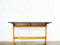 Loft design régi iskolai pad asztal Old school table bench Alte Schule Tisch bank ipari industrial industriell shabby chic rusty style artkraft