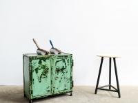 Loft design kicsi zöld vasszekrény kleiner grüner Stahlschrank Small green iron cabinet ipari industrial indusriell shabby chic rusty style artkraft