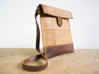 Loft design bőr újrahasznosított kézzel készült válltáska recycled handmade leather shoulder bag handgefertigt Leder Umhängetasche