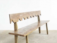 Loft design Régi fa pad paraszti alten rustikalen Holzbank old rustic wooden bench rengő ipari industrial industiell shabby chic rusty style artkraft