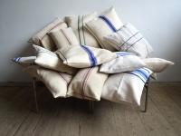 Loft design Régi párna zsák old pillows linen materials Kissen Leinenstoff