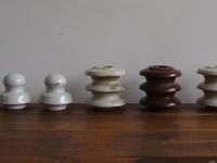 Loft design Régi porcelán villanyvezeték csiga baba Zsolnay Industrial wiring porcelain Verdrahtung Porzellan