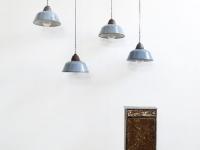 Loft design kék csarnoklámpa blue lamp hall blau Lampensaal