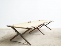 Loft design régi katonai ágy old army Bed Vintage military canvas bench alte Feldbett Bank