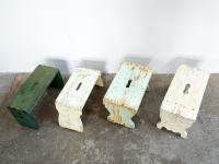 loft design régi sámli old stool alte hocker fellépő side step Auftreten ipari industrial industriell shabby chic rusty style artkraft