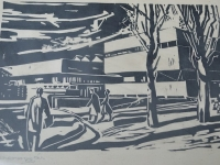 Loft design Szocialista épületek kép rézkarc socialist buildings picture etching Bild Ätzen sozialistischen Gebäude