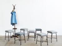 loft design régi műbőr kárpitos ipari ülőke old industrial leather stools industrie fabrik leder hocker shabby chic rusty style artkraft