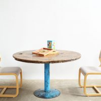 Loft design Kábeldob ipari étkező asztal Industrie Kabeltrommel Esstisch Cable drum dining table shabby chic rusty style artkraft
