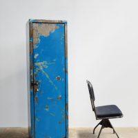 Loft design kék magas vasszekrény Blue high iron cabinet Blau hohe Eisen Schrank ipari industrial industriell shabby chic rusty style artkraft