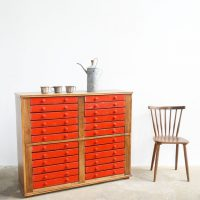 Loft design piros fiókos szekrény Red chest of drawers rot-Kommode irattartó szekrény filing cabinet aktenschrank ipari industrial industriell shabby chic rusty style artkraft