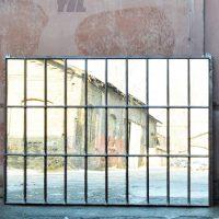 Loft design régi ipari osztott ablak tükör Industrial split window mirror Industrie geteilten Fenster Spiegel industriell shabby chic rusty style artkraft