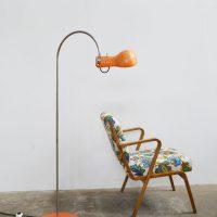 Loft design narancssárga retró állólámpa orangefarbenen retro Stehleuchte orange retro floor lamp olvasólámpa Leselicht reading lamp ipari industrial industriell shabby chic rusty style artkraft