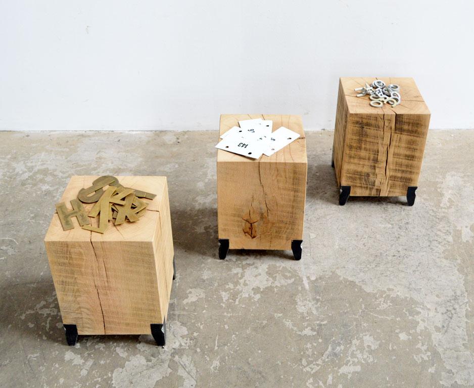 kleine tische aus balken 3 st artkraft loftdesign. Black Bedroom Furniture Sets. Home Design Ideas