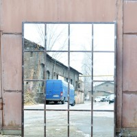 Loft design Hatalmas ipari ablak tükör Fabrik Fenster-Spiegel Industrial Window-mirror shabby chic rusty style artkraft
