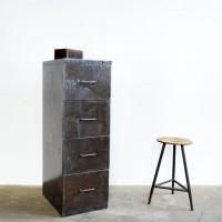 Loft design fiókos szekrény metal chest of drawers Metall-Kommode fém aktatároló metal filing cabinet Metallakten ipari industrial indusriell shabby chic rusty style artkraft