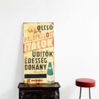 Loft design Régi zománctábla presszóról cégtábla Original iron board Originale Werbetafel ipari industrial industriell shabby chic rusty style artkraft