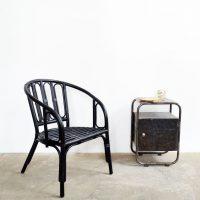 Loft design fekete bambuszszék Schwarzer Bambus-Stuhl Black bamboo chair ipari industrial indusriell shabby chic rusty style artkraft
