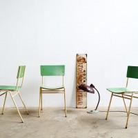 Loft design Régi zöld iskolai székek grün Alte Schul-Stühle green Old school chairs étkezőszék dining chair Esszimmerstuhl