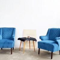 Loft design kék bársonyfotel blue velvet armchair blauer Samt-Sessel olvasófotel reading chair Lesesessel shabby chic rusty style artkraft