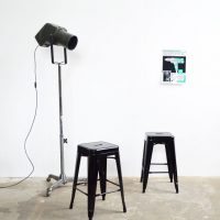 Barhocker Industrial green framed bar stools 3 pcs artkraft loftdesign