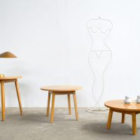 Loft design retró kör dohányzóasztal retro round coffee table retro runder Couchtisch lerakóasztal Beistelltisch side table ipari industrial industriell shabby chic rusty style artkraft
