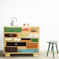 Loft design Ipari újrahasznosított fiókos szekrény Industrial recycled cabinet with several drawers recycelt Schubladenschrank Piet Hein Eek shabby chic rusty style artkraft