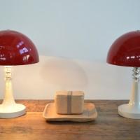 Loft design gombalámpa mushroom lamp Pilzleuchte piros asztali lámpa red table lamp rot Tischleuchte