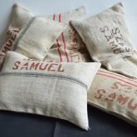 Loft design régi zsák-párna old bag cushion alt Sackkissen dekoráció decoration Dekoration