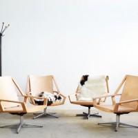 Loft design fa fotel wooden armchair forgó fotel swivel armchair Drehsessel