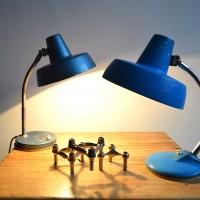 Loft design kék asztali lámpa blue table lamp blau Tischlampe