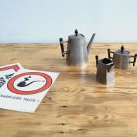 Loft design alpakka kávéskészlet plated coffee set plattiert Kaffee-Set kávéskanna Kaffeekanne coffee pot tejkiöntő milk jug Milchkännchen cukortartó Zuckerdose sugar bowl