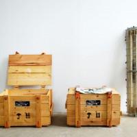 Loft design Régi ládák fa dohányzóasztal ipari Alte Lade Industrie Fabrik Kiste Old industrial chest box
