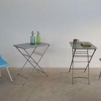 Loft design régi ipari vasasztal kerti asztal old iron garden table alten összecsukható folding table Klapptisch