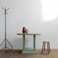 Loft design banánzöld ovális asztal Banana grün ovalen Tisch Banana green oval table lerakóasztal side table Beistelltisch