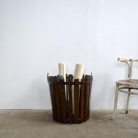 loft design basket blinder korb fakosár industrial furniture unbrella stand industrieller Schirmständer wood