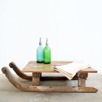 Loft design Régi szánkó ipari dohányzóasztal Industrial coffee table old sled Industrie Couchtisch alten Schlitten