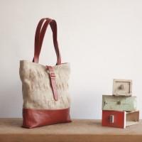 Loft design bag Tote recycled leather sack Leder wiederverwenden Tasche Újrahasznosított zsák bevásárló táska
