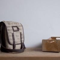 Loft design bag Újrahasznosított zsák táska Messenger recycled sack bag wiederverwenden Tasche Sackleinen Umhängetasche